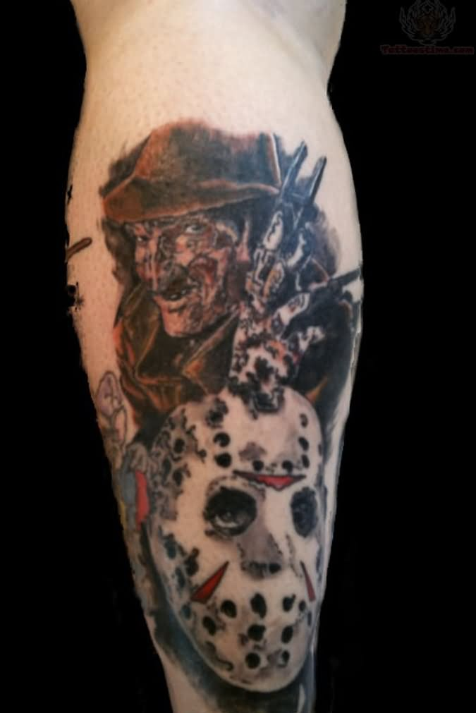freddy and jason tattoo on back leg. Black Bedroom Furniture Sets. Home Design Ideas
