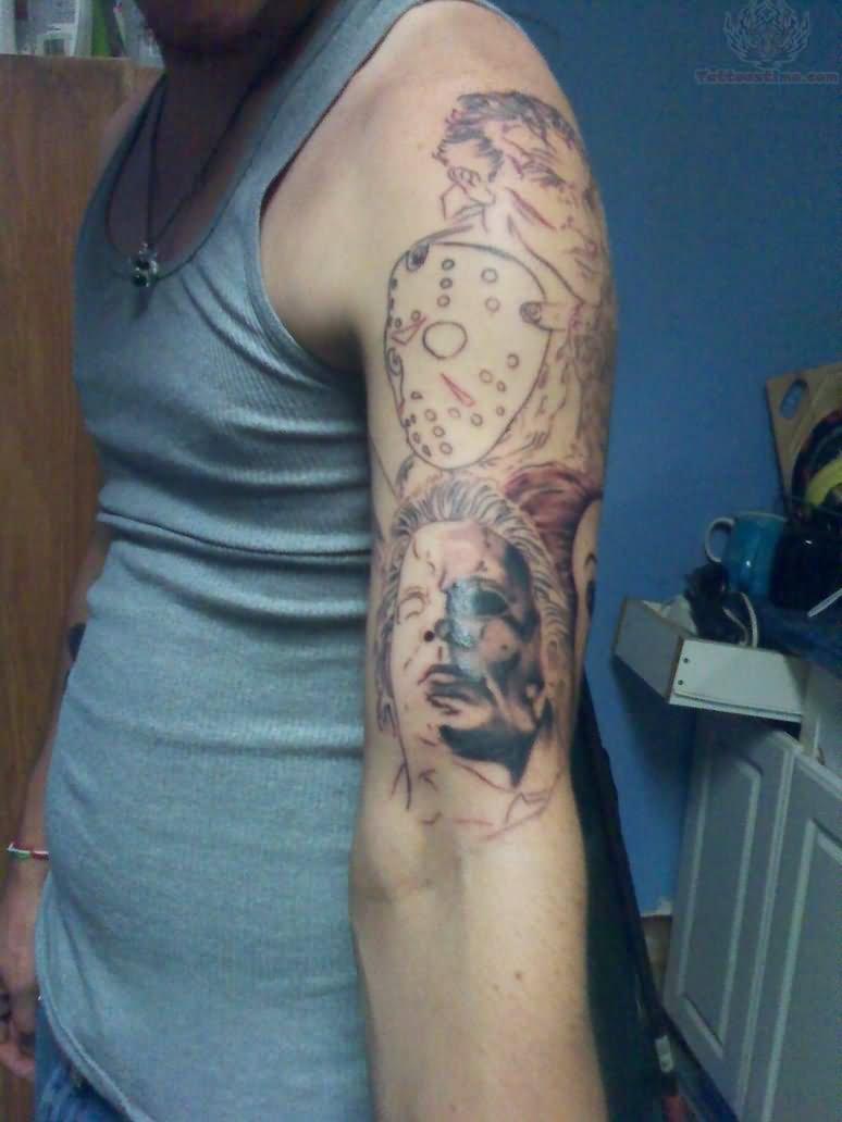Jason Mask Hand Tattoo