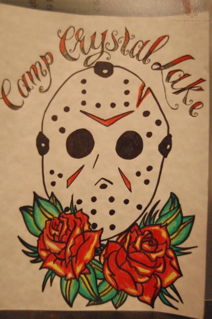 Jason Mask And Red Roses Tattoo Design