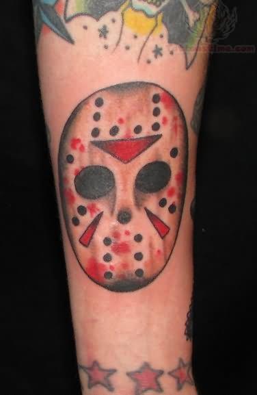 red ink jason voorhees mask tattoo. Black Bedroom Furniture Sets. Home Design Ideas