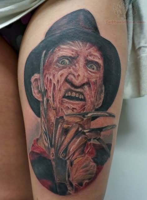 Freddy Krueger Tattoo On Left Thigh