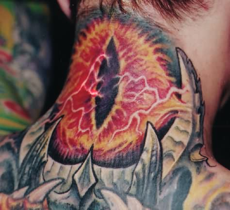 Colourful Big Eye Tattoo On Back Neck