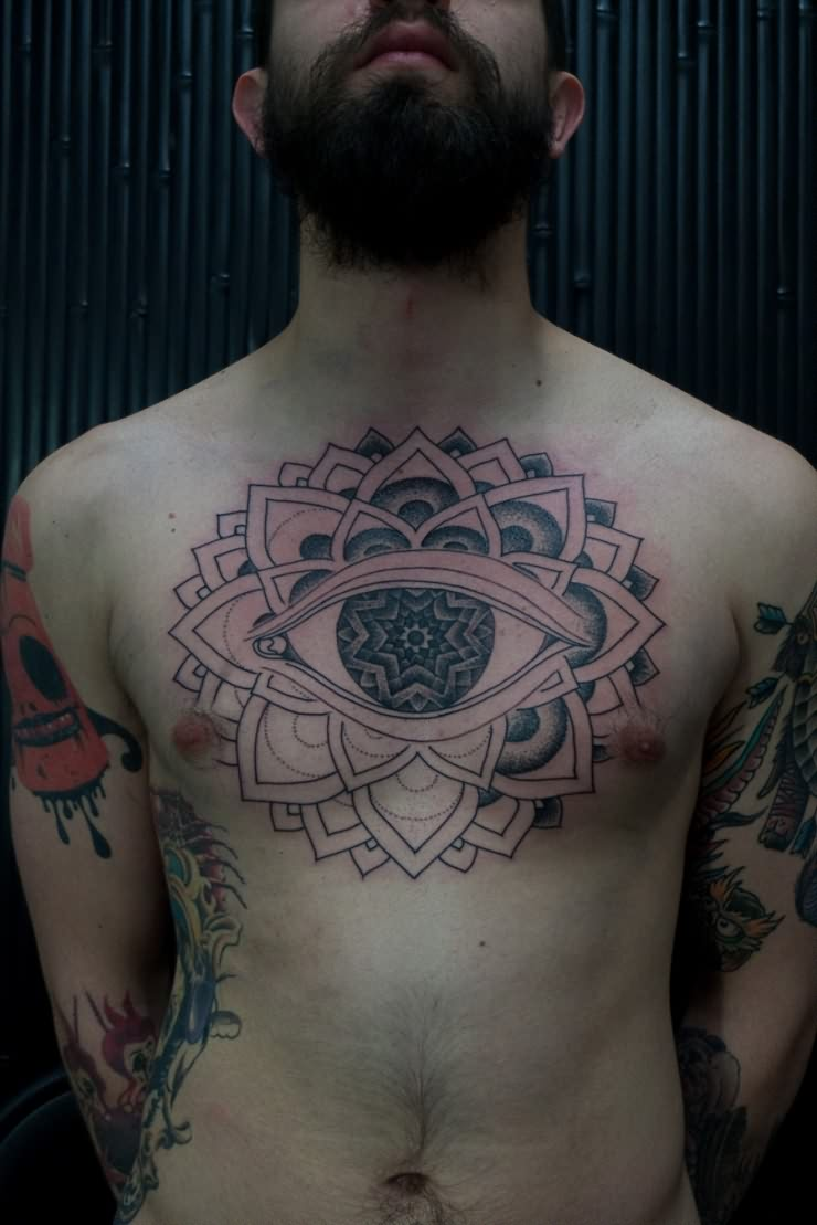 Tribal Eye Tattoo On Chest