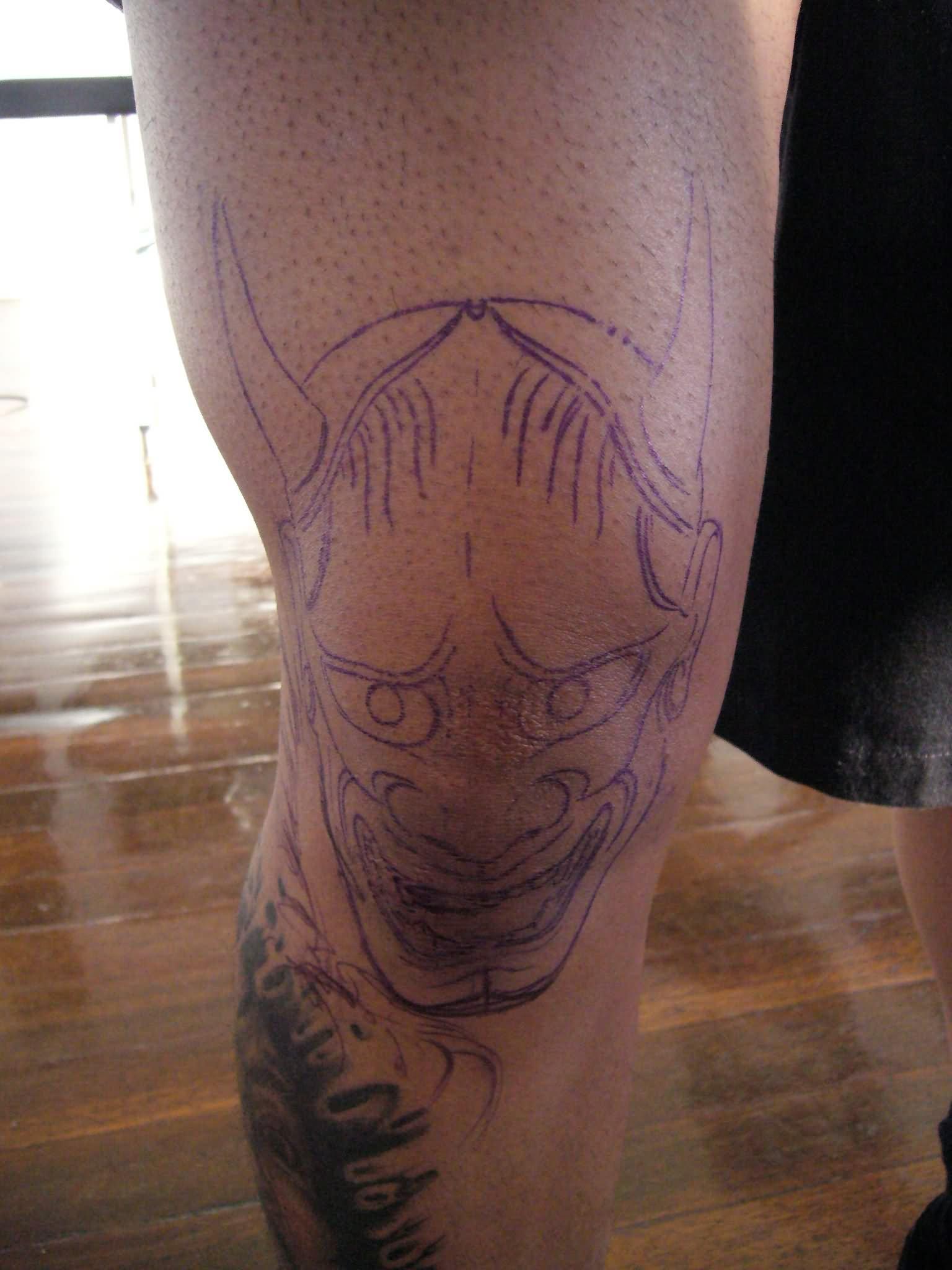 Eagle Back Tattoo Evil Face Outline Tatt...
