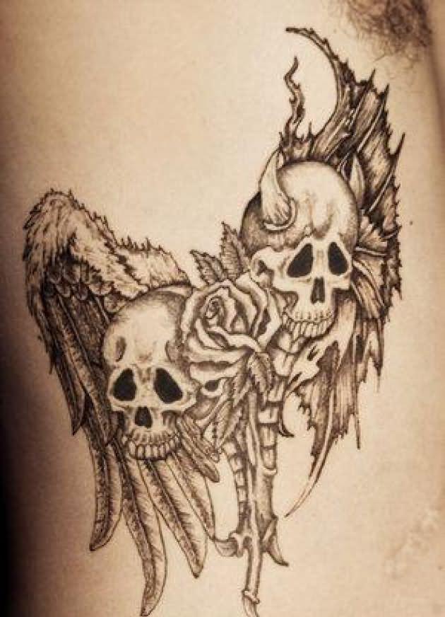 Grey Ink Evil Skulls And Flower Tattoo