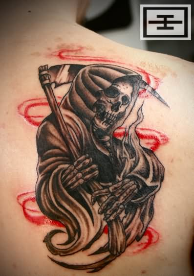 grim reaper grey ink evil tattoos. Black Bedroom Furniture Sets. Home Design Ideas
