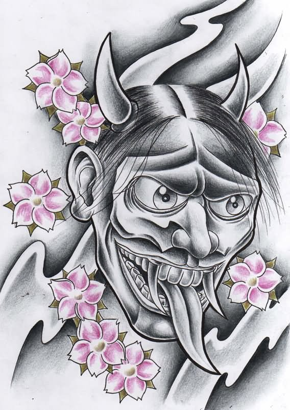 hannya evil mask tattoo design