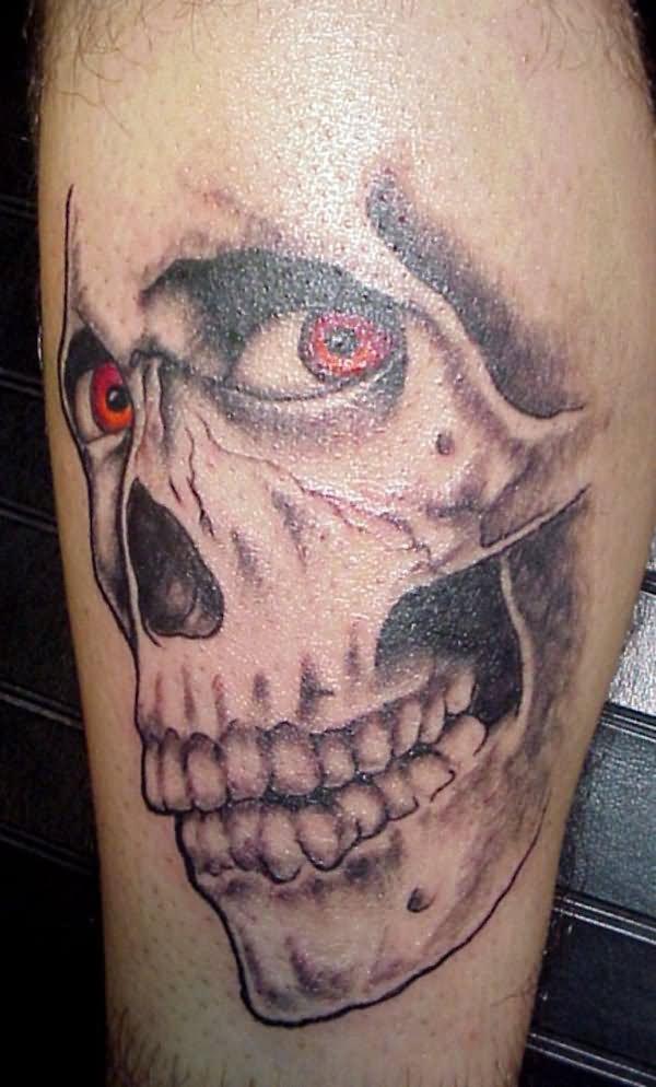 Red Eyes Evil Skull Tattoo