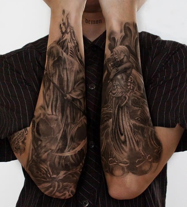 sleeve evil tattoos for boys. Black Bedroom Furniture Sets. Home Design Ideas