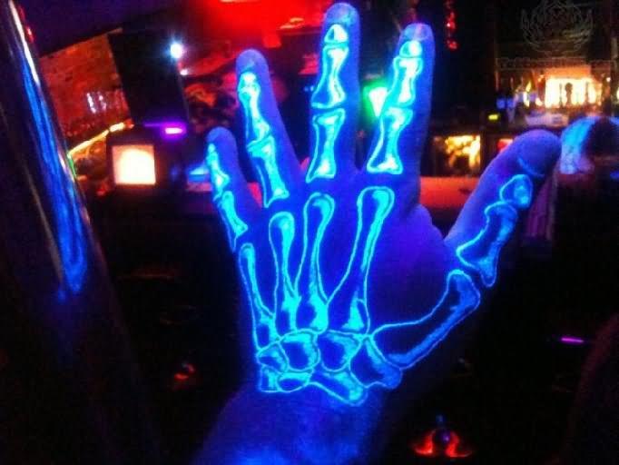 Hand Skeleton Uv Tattoo On Left Hand