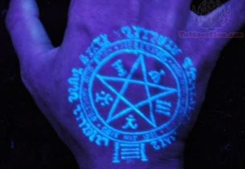 Pentagram Uv Tattoo On Hand