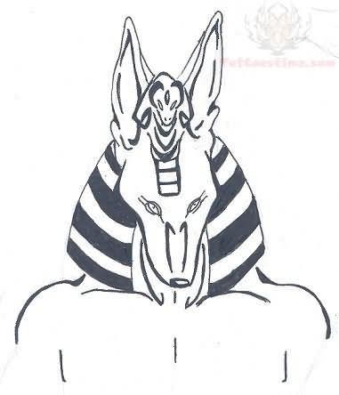 fa74e7981 Tribal Anubis Head Color Tattoo Design