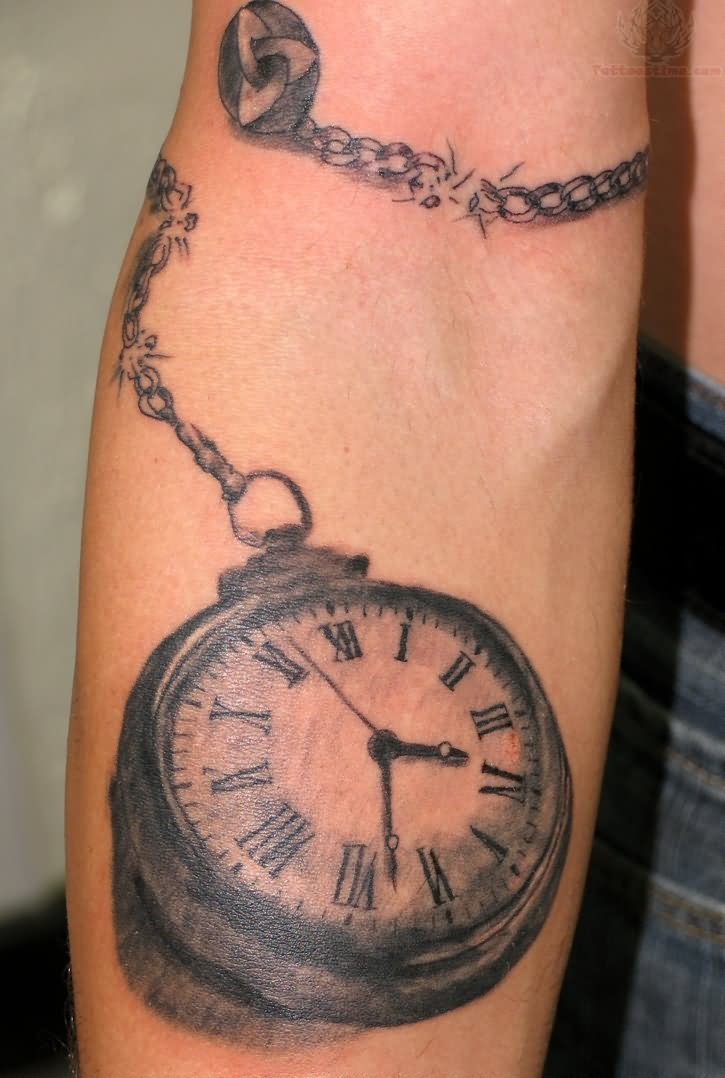 Pocket watch grey ink tattoo for Pocket watches tattoos