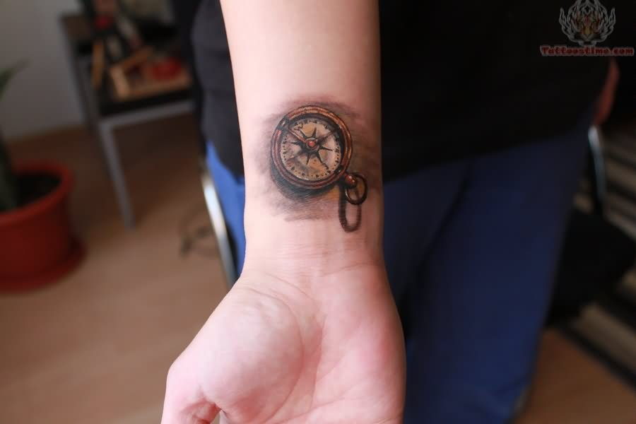 Small Compass Watch Tattoo On Arm