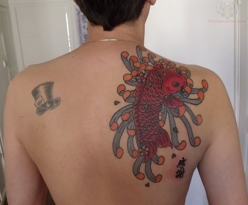 Asian Color Ink Koi Fish Tattoo On Back Shoulder