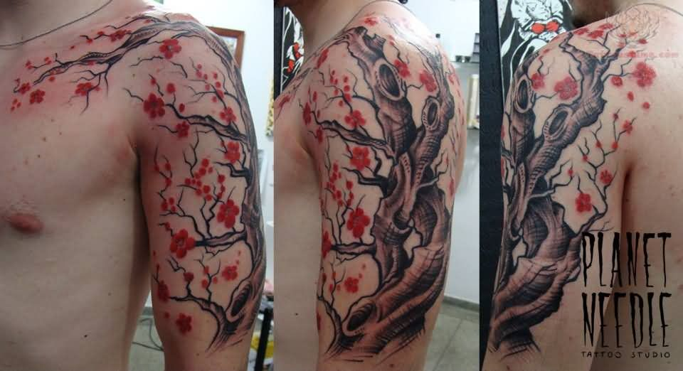 Cherry Blossom Flowers Tree Tattoo On Bicep And Chest