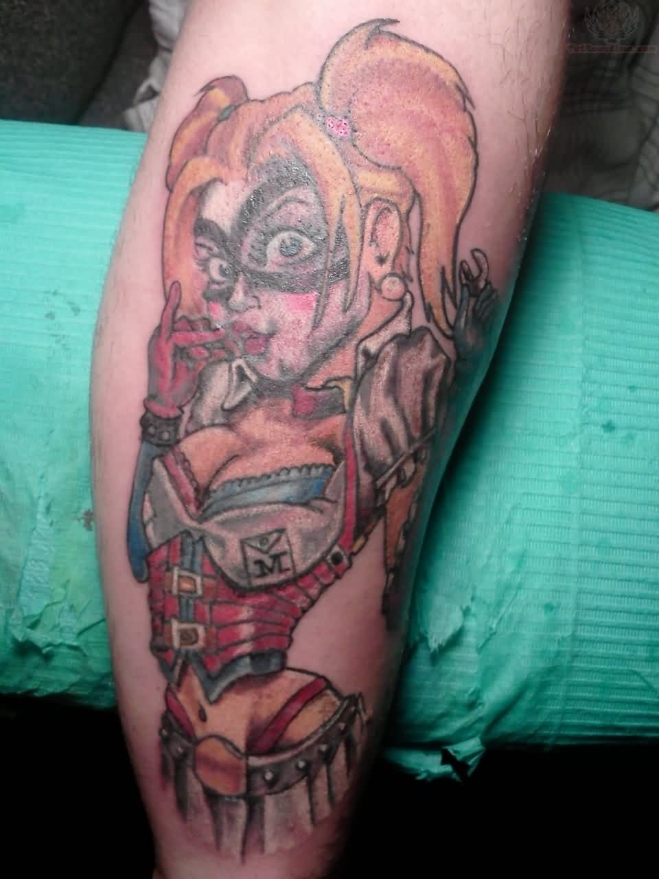 Harleyquinn Color Ink Tattoo On Forearm