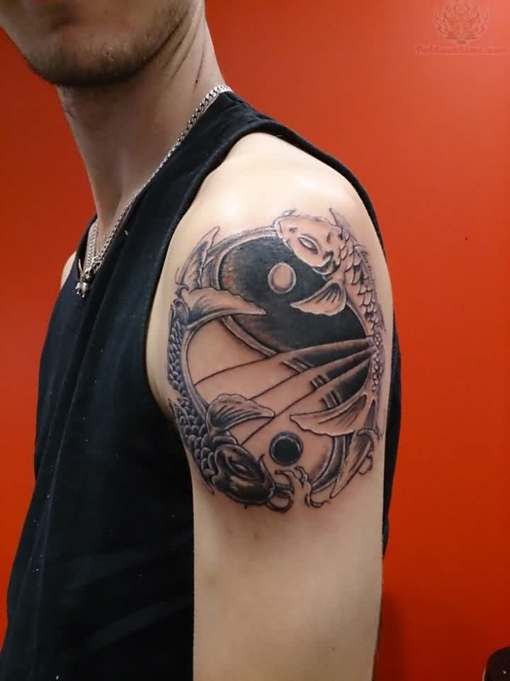 Koi And Ying Yang Tattoo On Shoulder