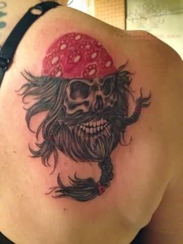 memorial skull with beard tattoo
