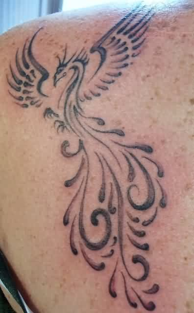 Phoenix Tattoo On Back Shoulder