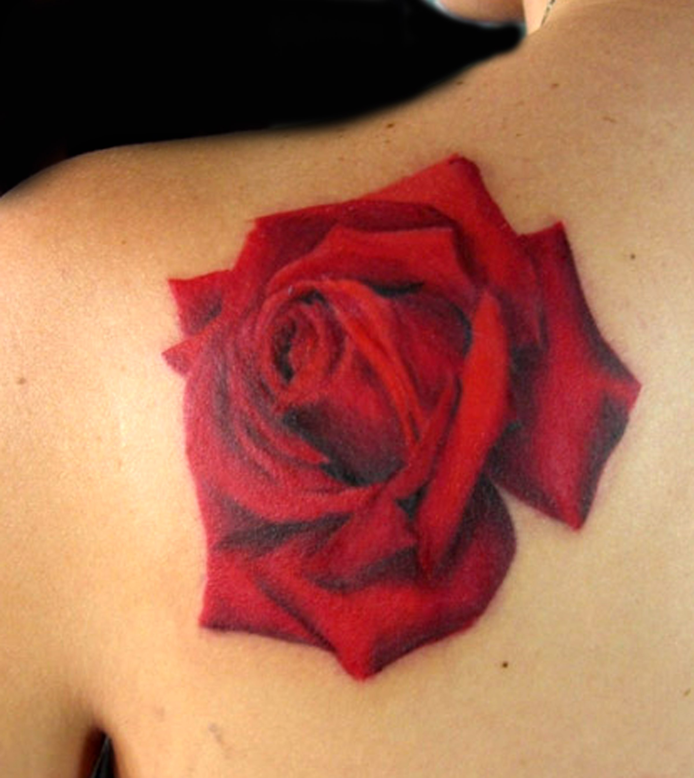 Red Rose On A Shoulder Tattoo