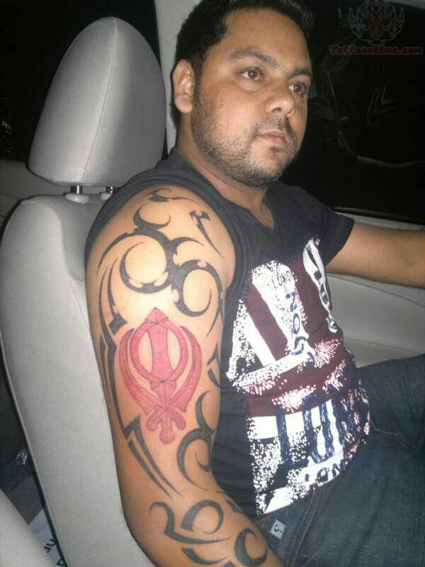 Tribal And Khanda Tattoo On Right Sleeve