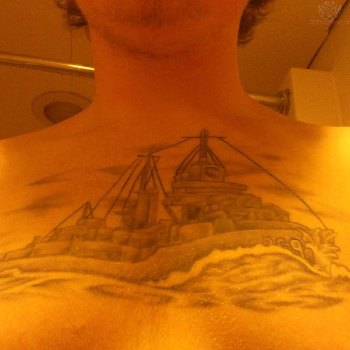 USS Reid Grey Ink Tattoo On Chest