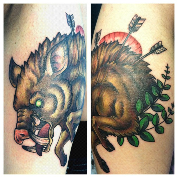 Eagle hunting tattoos for Tattoo shops in bowling green ohio