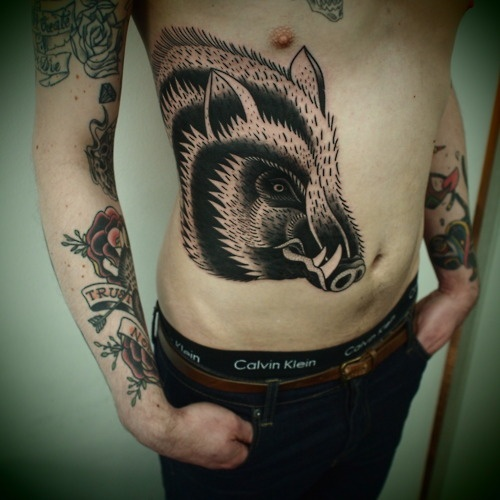Boar tattoo images designs for Pelvic tattoos for guys