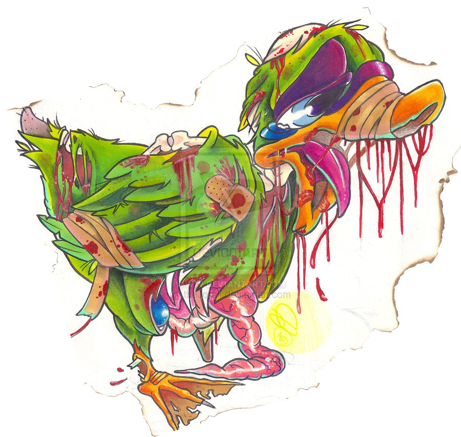 abstract color ink zombie duck tattoo design. Black Bedroom Furniture Sets. Home Design Ideas