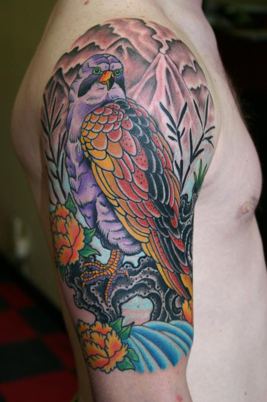 Beautiful colored hawk tattoo on half sleeve for Beautiful half sleeve tattoos