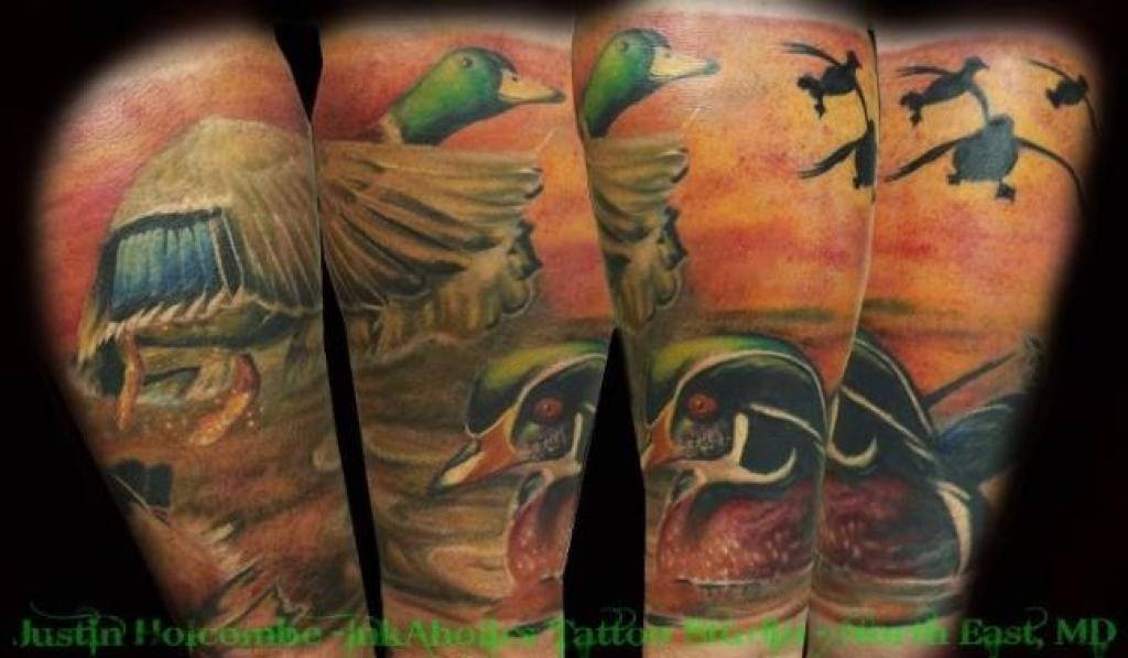 Duck hunting tattoo sleeve for Duck hunting tattoo