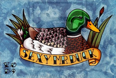 Color Ink Duck And Sexy Mr Duck Banner Tattoo Design