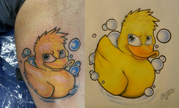 cute yellow ink rubber duck tattoo. Black Bedroom Furniture Sets. Home Design Ideas