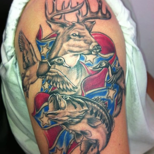 Grey Ink Deer Head Fish And Flying Duck Tattoos