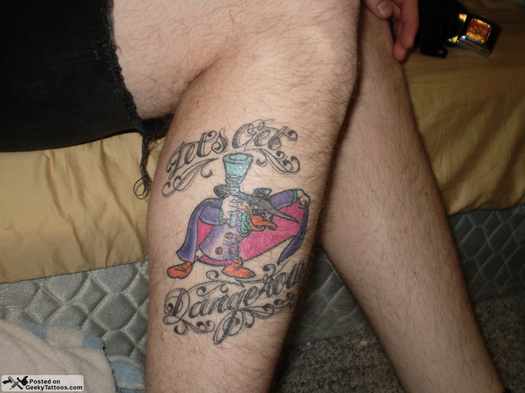 Lets Get Dangerous Duck Tattoo On Right Leg