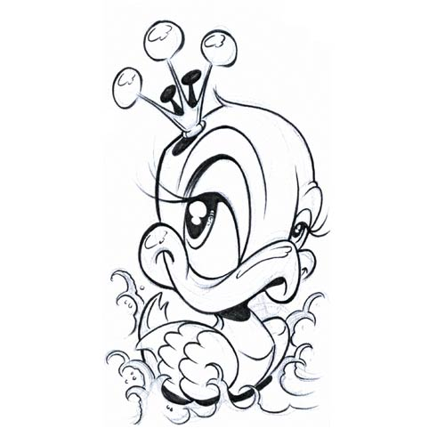 Duck Tattoos Designs Outline Duck With Crown Tattoo