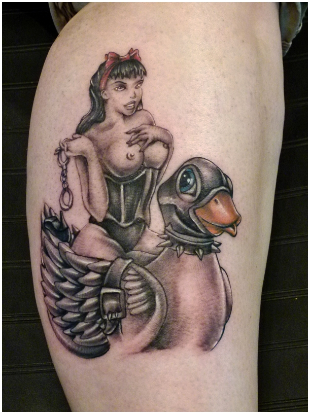 Pinup girl and grey ink duck tattoo for Duck hunting tattoo