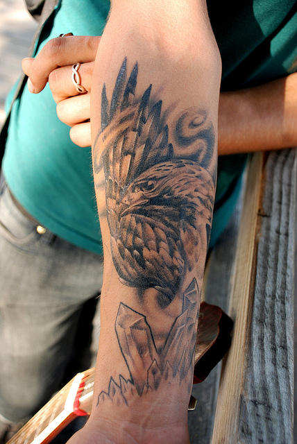Hawk tattoo images designs for Right arm tattoos