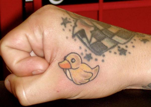 small rubber duck tattoo on right hand. Black Bedroom Furniture Sets. Home Design Ideas
