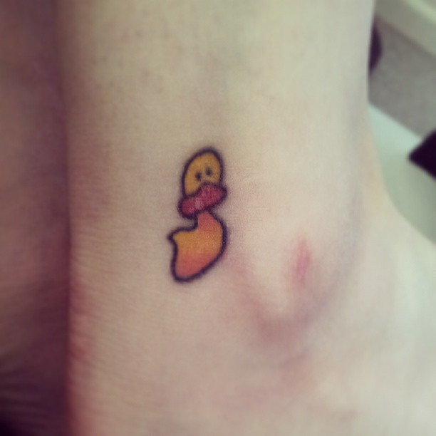 tiny duck tattoo on ankle. Black Bedroom Furniture Sets. Home Design Ideas