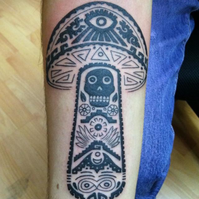 Black Ink Mushroom Tattoo