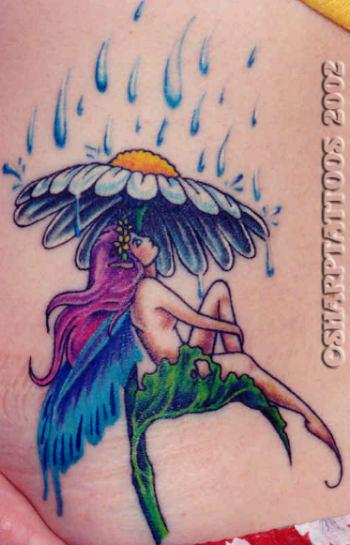 daisy flower mushroom and fairy in rain color ink tattoo. Black Bedroom Furniture Sets. Home Design Ideas