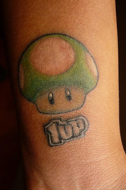 Green Mario Mushroom 1up Tattoo