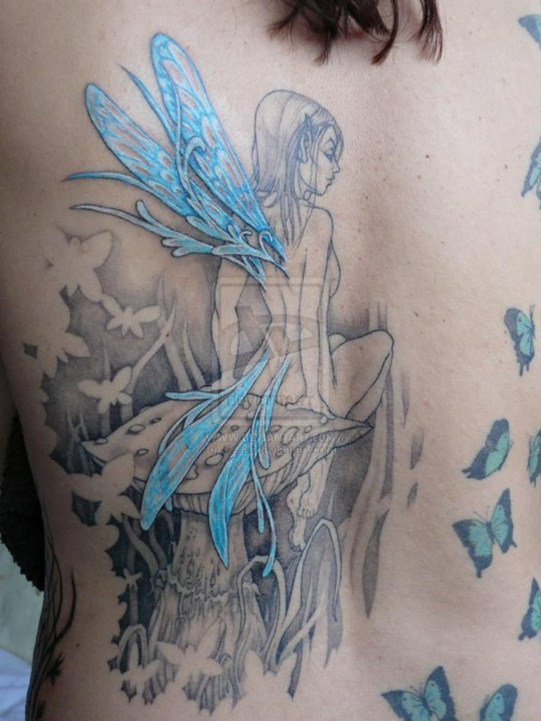 grey ink mushroom and fairy with butterflies tattoo on back. Black Bedroom Furniture Sets. Home Design Ideas