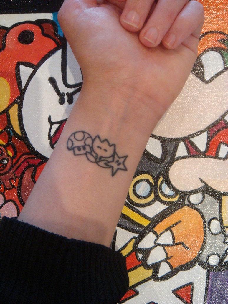 black mario mushroom tattoo