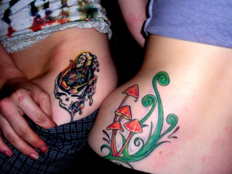 melting skull and color mushroom tattoos on side rib. Black Bedroom Furniture Sets. Home Design Ideas