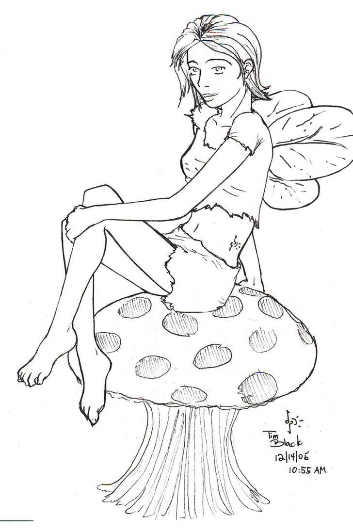 outline fairy mushroom tattoo design