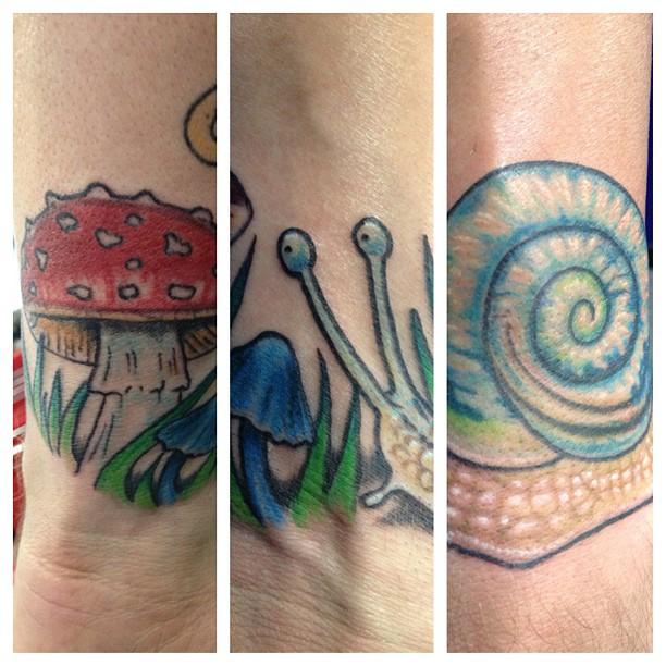 Realistic mushroom tattoos