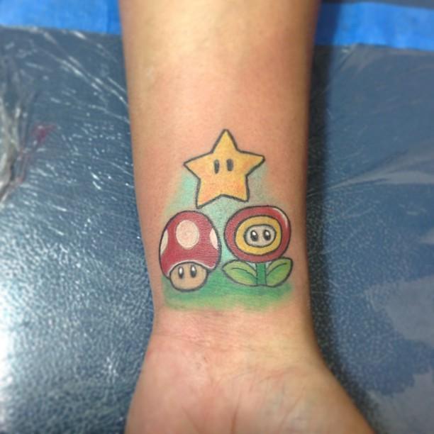mario mushroom tattoo designs